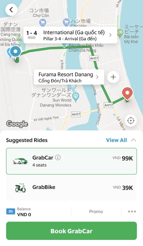 タクシー空港移動グラブ観光